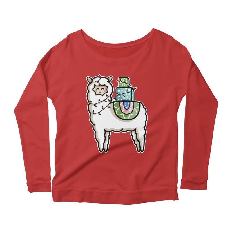 Kawaii Cute Gift Carrying Llama Women's Scoop Neck Longsleeve T-Shirt by Flaming Imp's Artist Shop