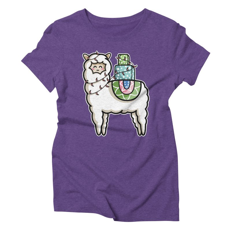 Kawaii Cute Gift Carrying Llama Women's Triblend T-Shirt by Flaming Imp's Artist Shop
