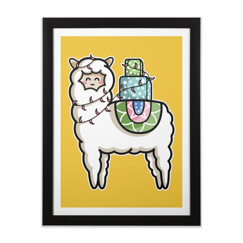 Kawaii Cute Gift Carrying Llama Home Framed Fine Art Print by Flaming Imp's Artist Shop