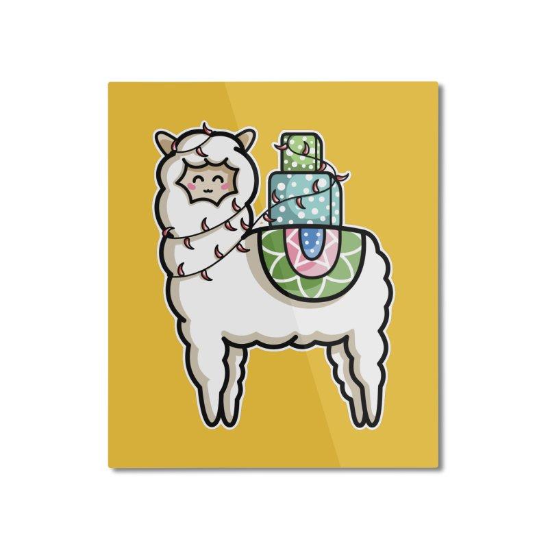 Kawaii Cute Gift Carrying Llama Home Mounted Aluminum Print by Flaming Imp's Artist Shop