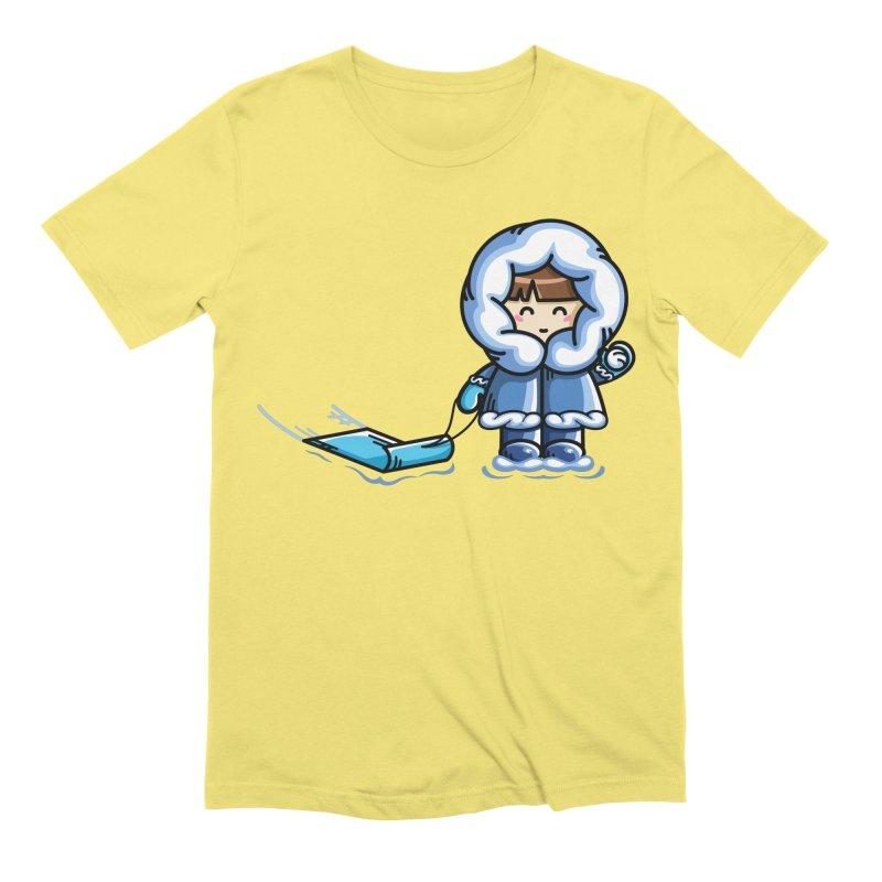 Kawaii Cute Fun In The Snow Men's Extra Soft T-Shirt by Flaming Imp's Artist Shop