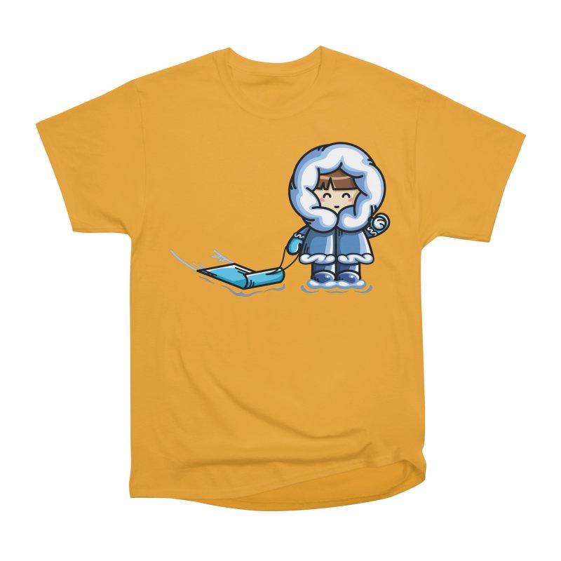 Kawaii Cute Fun In The Snow Women's Heavyweight Unisex T-Shirt by Flaming Imp's Artist Shop