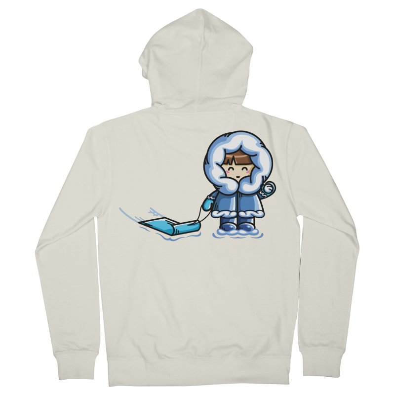 Kawaii Cute Fun In The Snow Men's French Terry Zip-Up Hoody by Flaming Imp's Artist Shop