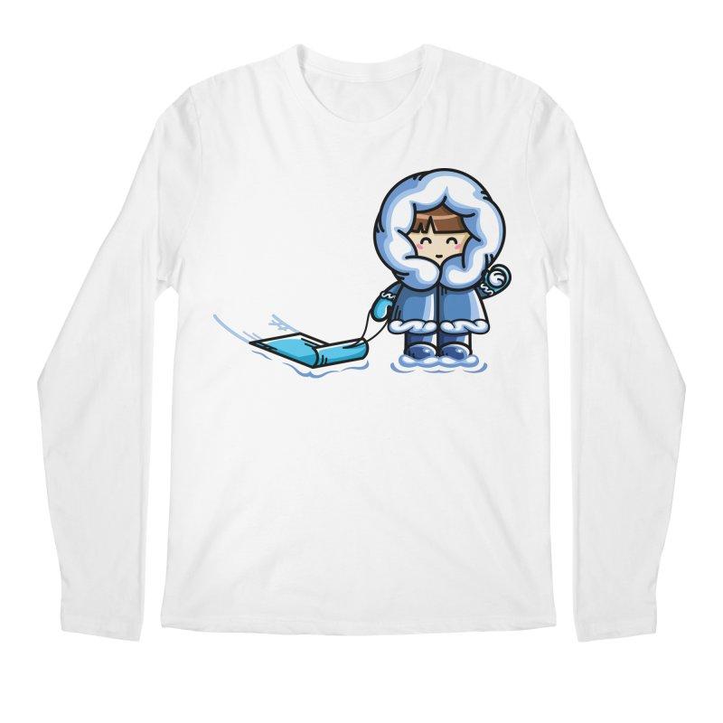Kawaii Cute Fun In The Snow Men's Regular Longsleeve T-Shirt by Flaming Imp's Artist Shop