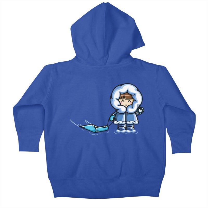Kawaii Cute Fun In The Snow Kids Baby Zip-Up Hoody by Flaming Imp's Artist Shop