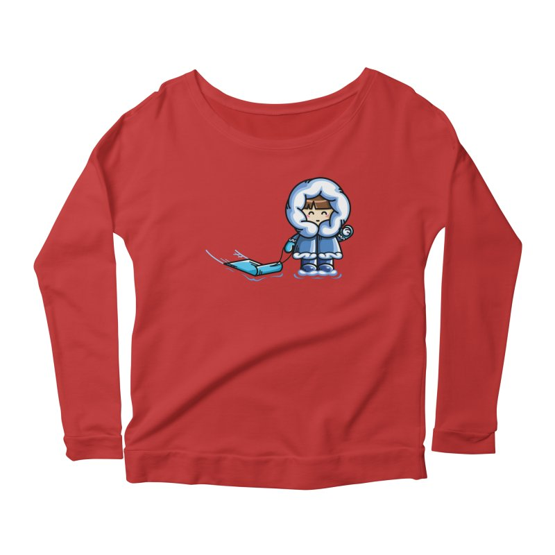 Kawaii Cute Fun In The Snow Women's Scoop Neck Longsleeve T-Shirt by Flaming Imp's Artist Shop