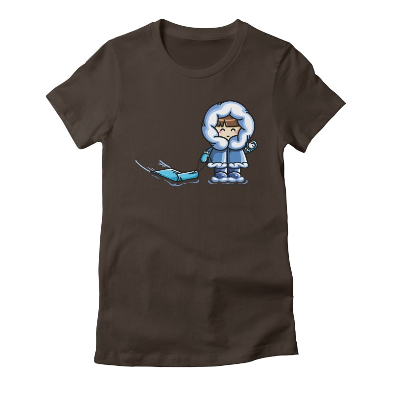 Kawaii Cute Fun In The Snow Women's Fitted T-Shirt by Flaming Imp's Artist Shop