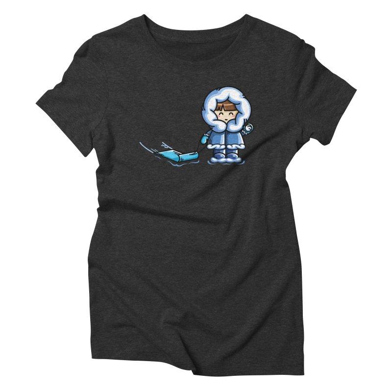 Kawaii Cute Fun In The Snow Women's Triblend T-Shirt by Flaming Imp's Artist Shop
