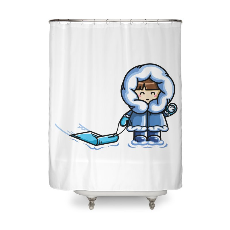 Kawaii Cute Fun In The Snow Home Shower Curtain by Flaming Imp's Artist Shop