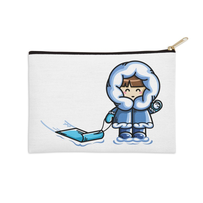 Kawaii Cute Fun In The Snow Accessories Zip Pouch by Flaming Imp's Artist Shop