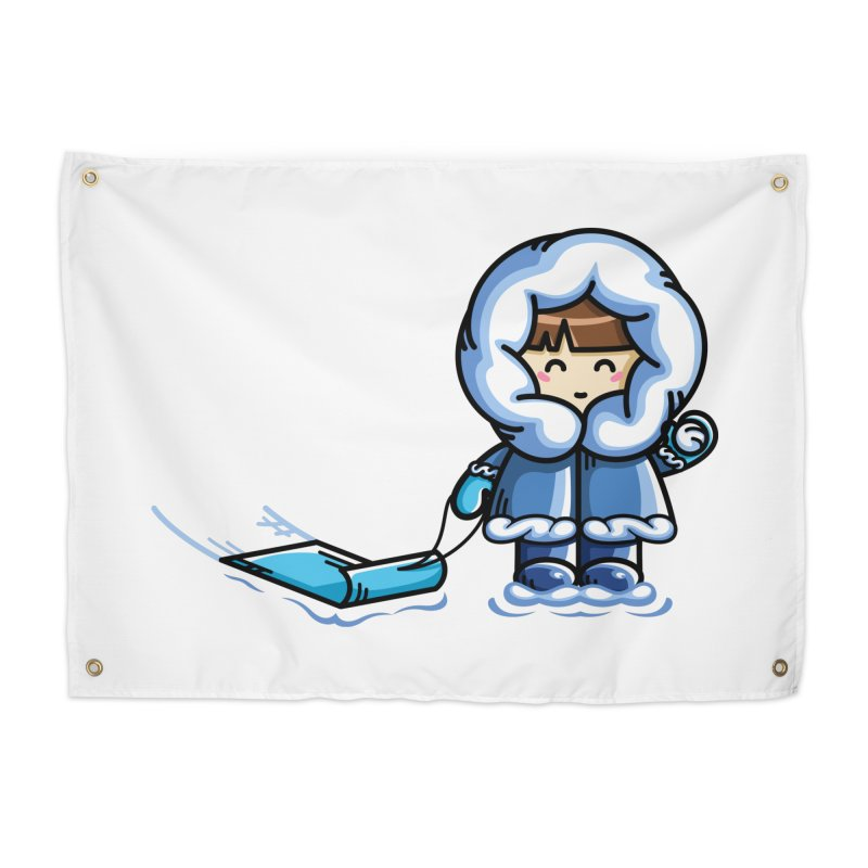 Kawaii Cute Fun In The Snow Home Tapestry by Flaming Imp's Artist Shop
