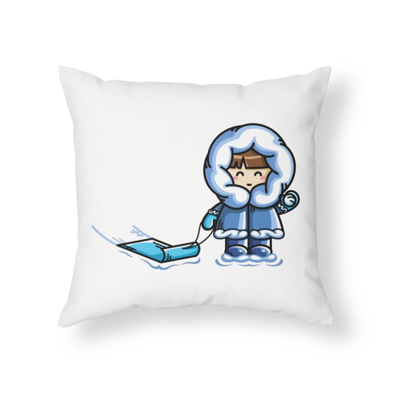 Kawaii Cute Fun In The Snow Home Throw Pillow by Flaming Imp's Artist Shop