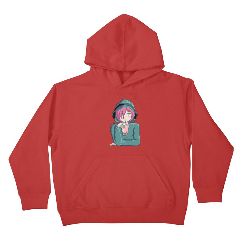 Listening to music and drinking tea Kids Pullover Hoody by Flaming Imp's Artist Shop