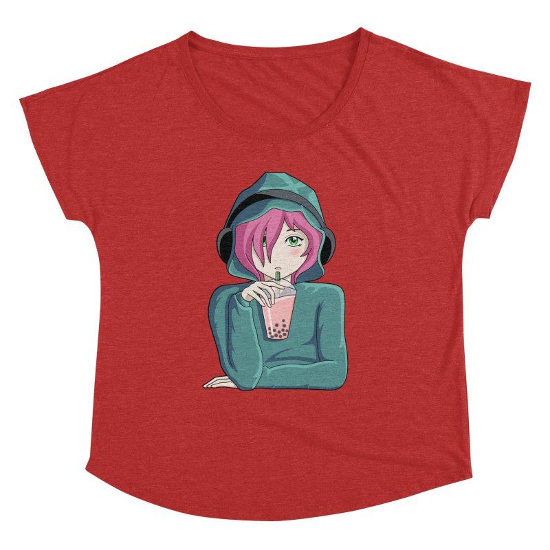 Listening to music and drinking tea Women's Dolman Scoop Neck by Flaming Imp's Artist Shop