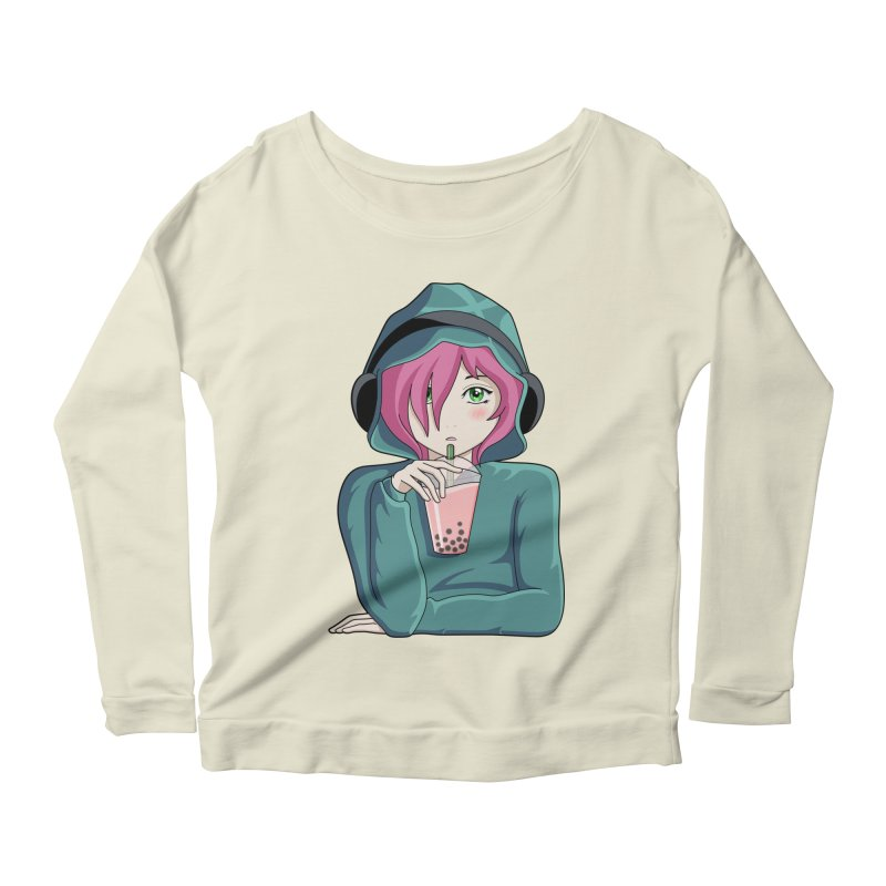 Listening to music and drinking tea Women's Scoop Neck Longsleeve T-Shirt by Flaming Imp's Artist Shop