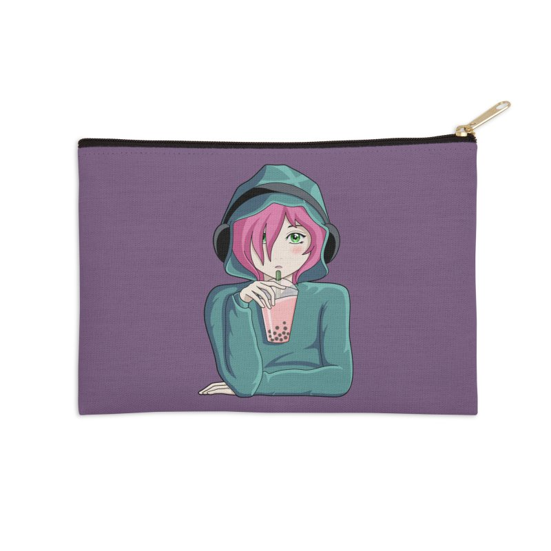Listening to music and drinking tea Accessories Zip Pouch by Flaming Imp's Artist Shop