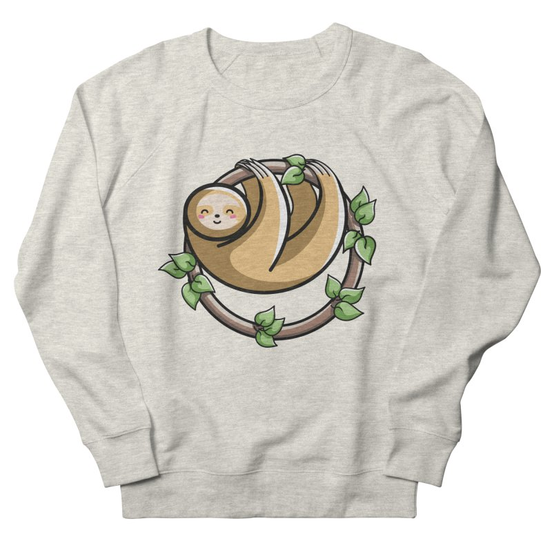 Kawaii Cute Sloth Circle Men's French Terry Sweatshirt by Flaming Imp's Artist Shop