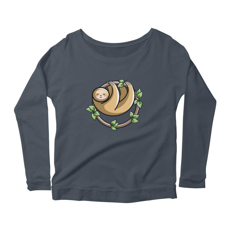 Kawaii Cute Sloth Circle Women's Scoop Neck Longsleeve T-Shirt by Flaming Imp's Artist Shop