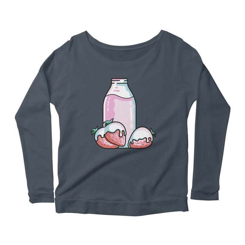 Cute Strawberry Milkshake Women's Scoop Neck Longsleeve T-Shirt by Flaming Imp's Artist Shop