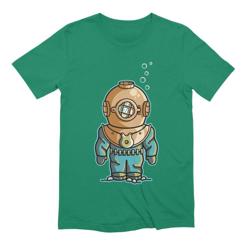 Cute Deep Sea Diver Men's Extra Soft T-Shirt by Flaming Imp's Artist Shop