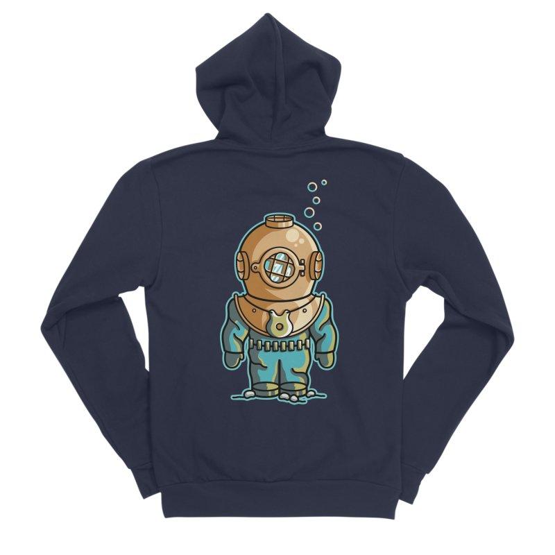 Cute Deep Sea Diver Men's Sponge Fleece Zip-Up Hoody by Flaming Imp's Artist Shop