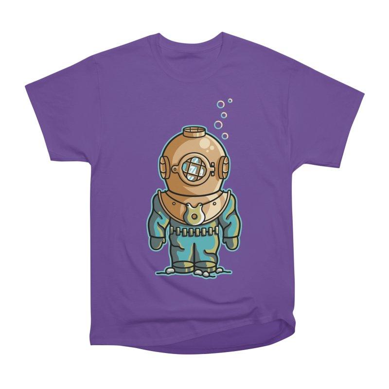 Cute Deep Sea Diver Men's Heavyweight T-Shirt by Flaming Imp's Artist Shop