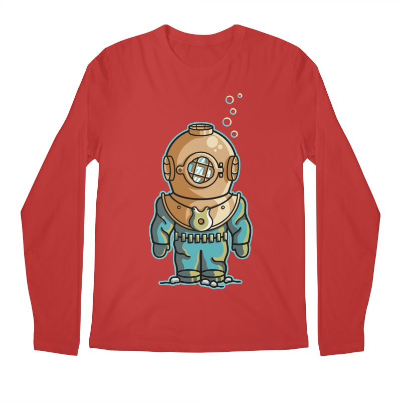 Cute Deep Sea Diver Men's Regular Longsleeve T-Shirt by Flaming Imp's Artist Shop