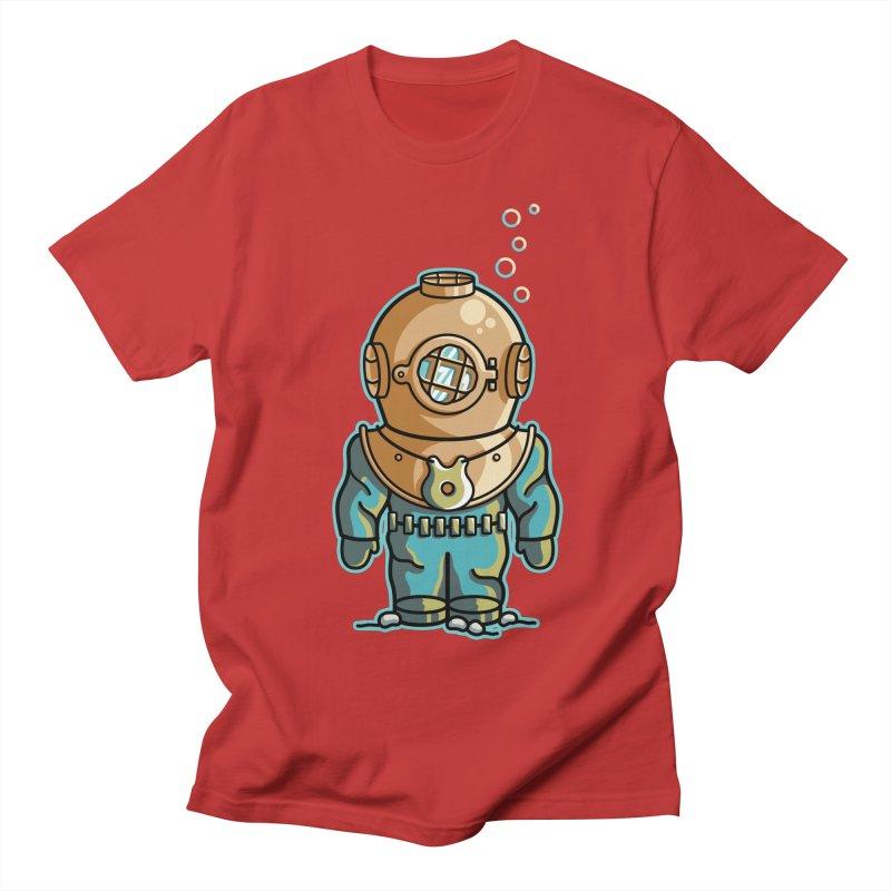 Cute Deep Sea Diver Men's Regular T-Shirt by Flaming Imp's Artist Shop