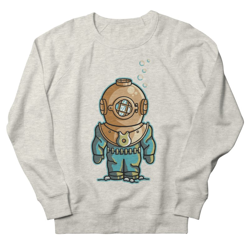 Cute Deep Sea Diver Men's French Terry Sweatshirt by Flaming Imp's Artist Shop