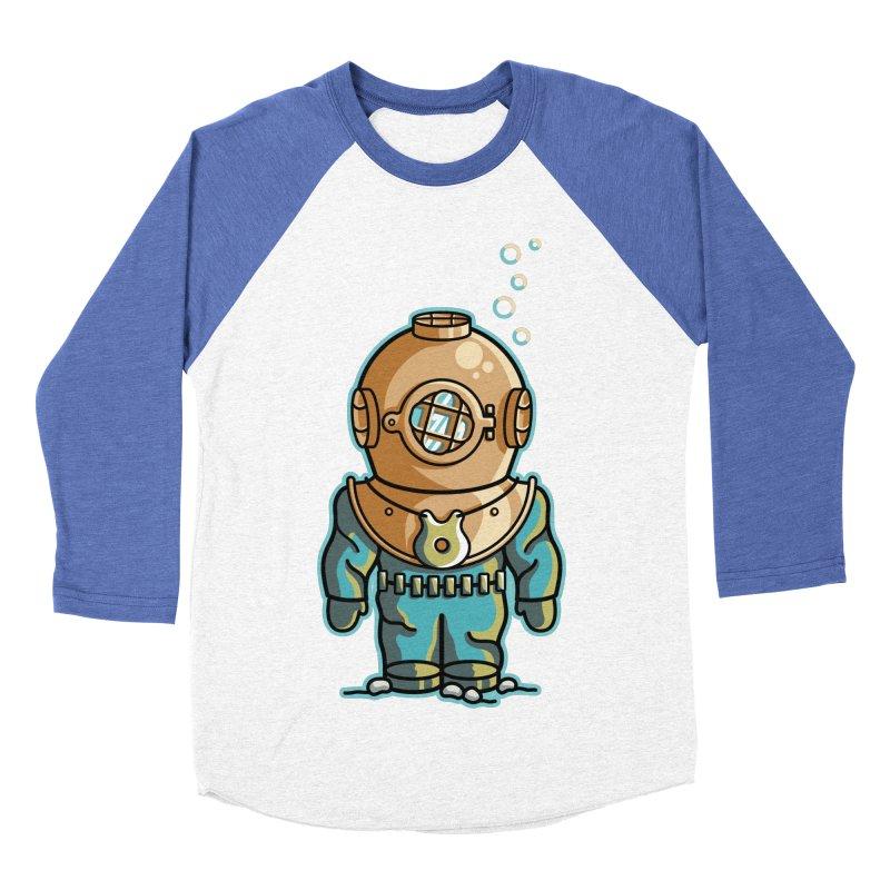Cute Deep Sea Diver Men's Baseball Triblend Longsleeve T-Shirt by Flaming Imp's Artist Shop