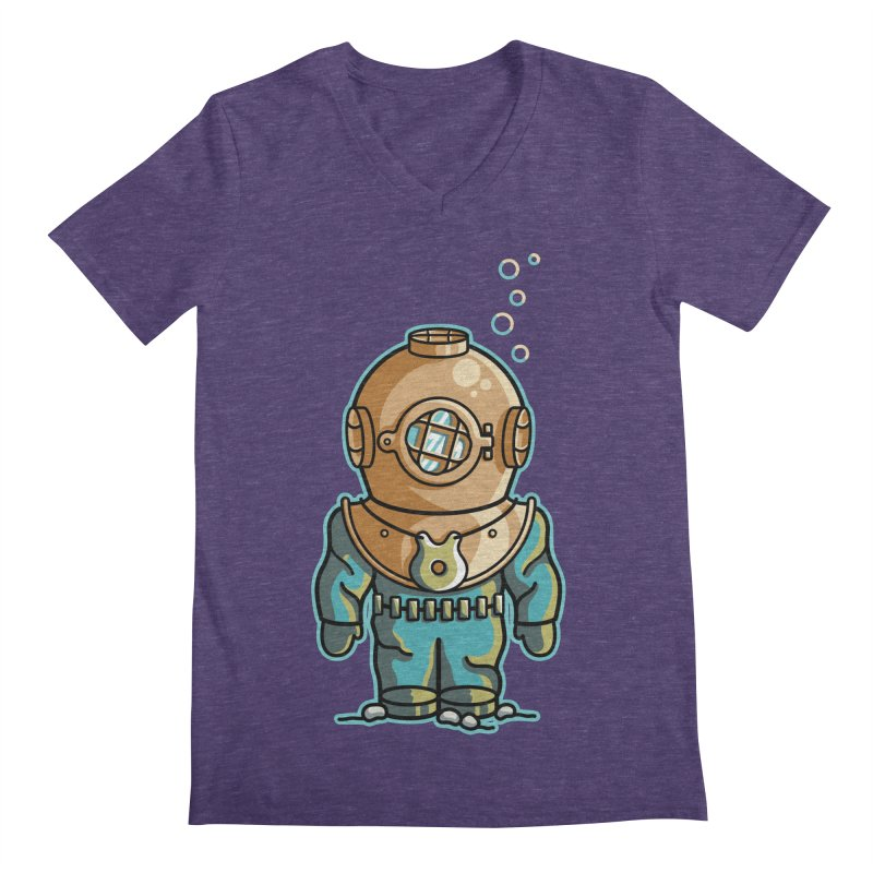 Cute Deep Sea Diver Men's Regular V-Neck by Flaming Imp's Artist Shop