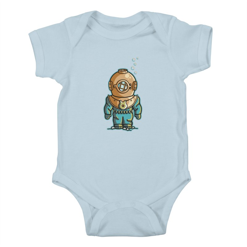 Cute Deep Sea Diver Kids Baby Bodysuit by Flaming Imp's Artist Shop