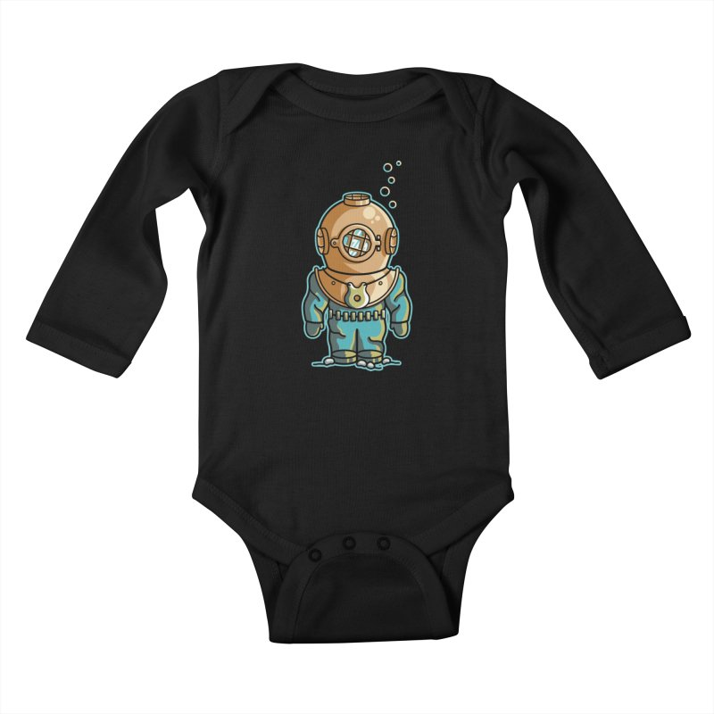Cute Deep Sea Diver Kids Baby Longsleeve Bodysuit by Flaming Imp's Artist Shop