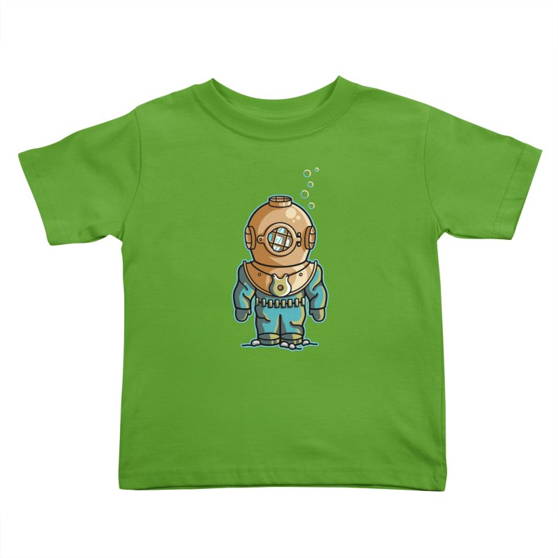 Cute Deep Sea Diver Kids Toddler T-Shirt by Flaming Imp's Artist Shop