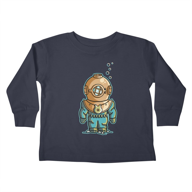 Cute Deep Sea Diver Kids Toddler Longsleeve T-Shirt by Flaming Imp's Artist Shop