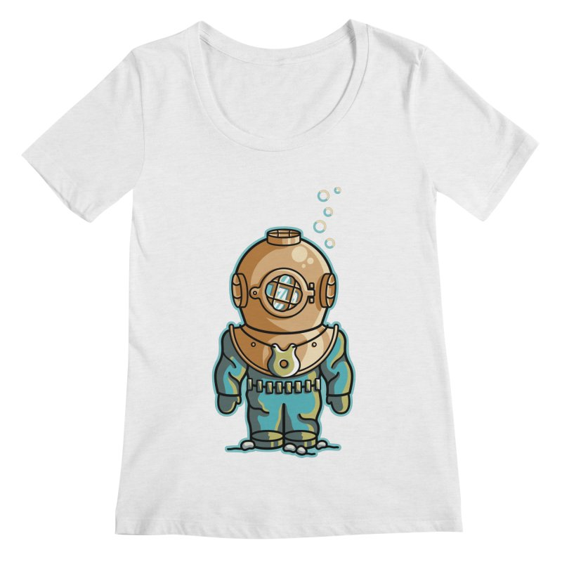 Cute Deep Sea Diver Women's Regular Scoop Neck by Flaming Imp's Artist Shop