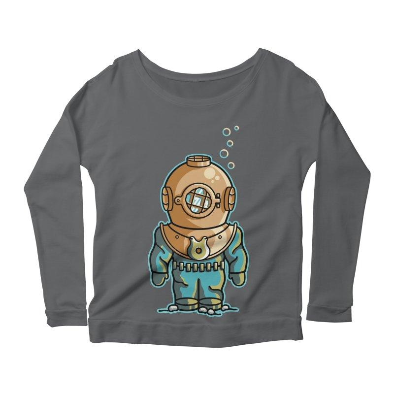 Cute Deep Sea Diver Women's Scoop Neck Longsleeve T-Shirt by Flaming Imp's Artist Shop