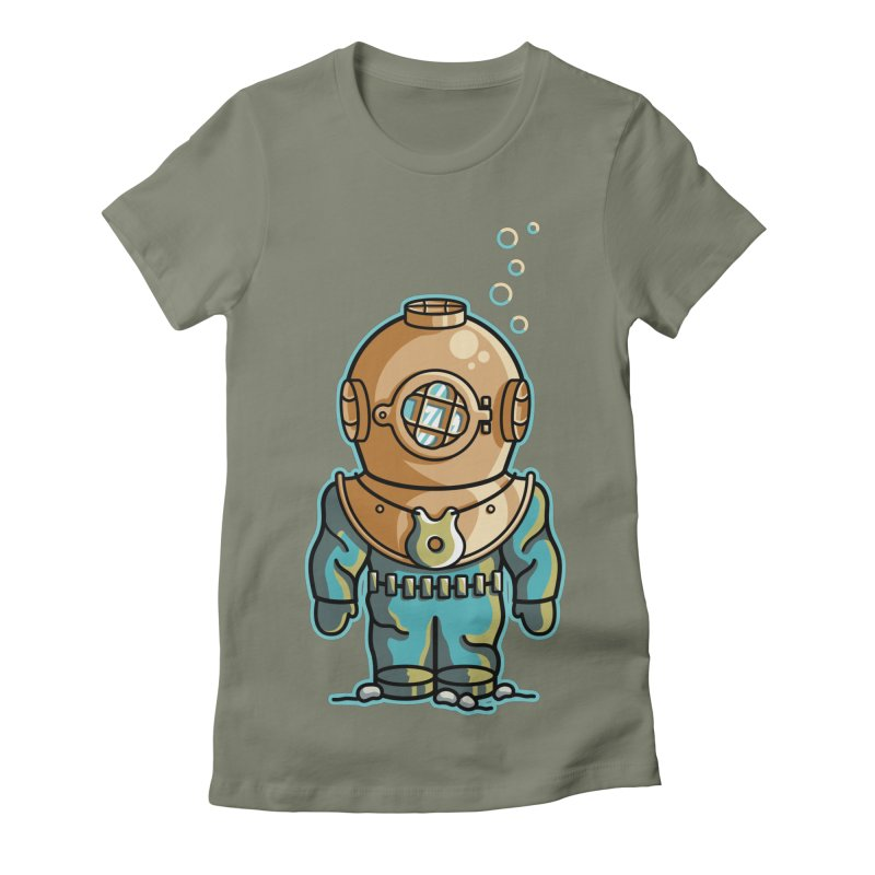 Cute Deep Sea Diver Women's Fitted T-Shirt by Flaming Imp's Artist Shop