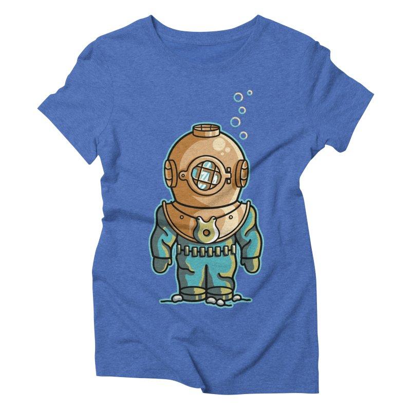 Cute Deep Sea Diver Women's Triblend T-Shirt by Flaming Imp's Artist Shop
