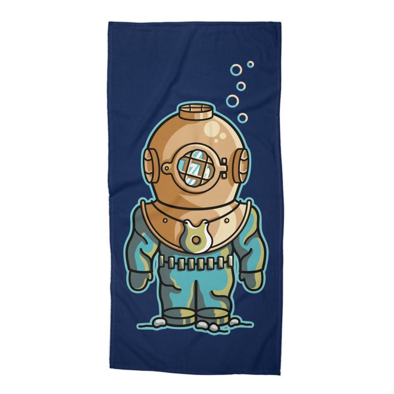 Cute Deep Sea Diver Accessories Beach Towel by Flaming Imp's Artist Shop