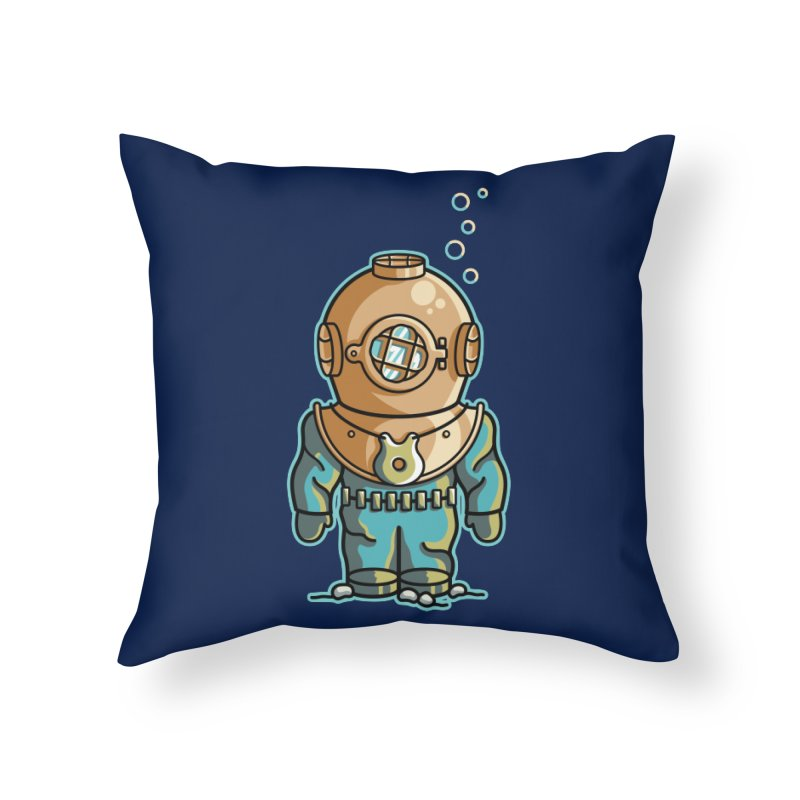 Cute Deep Sea Diver Home Throw Pillow by Flaming Imp's Artist Shop