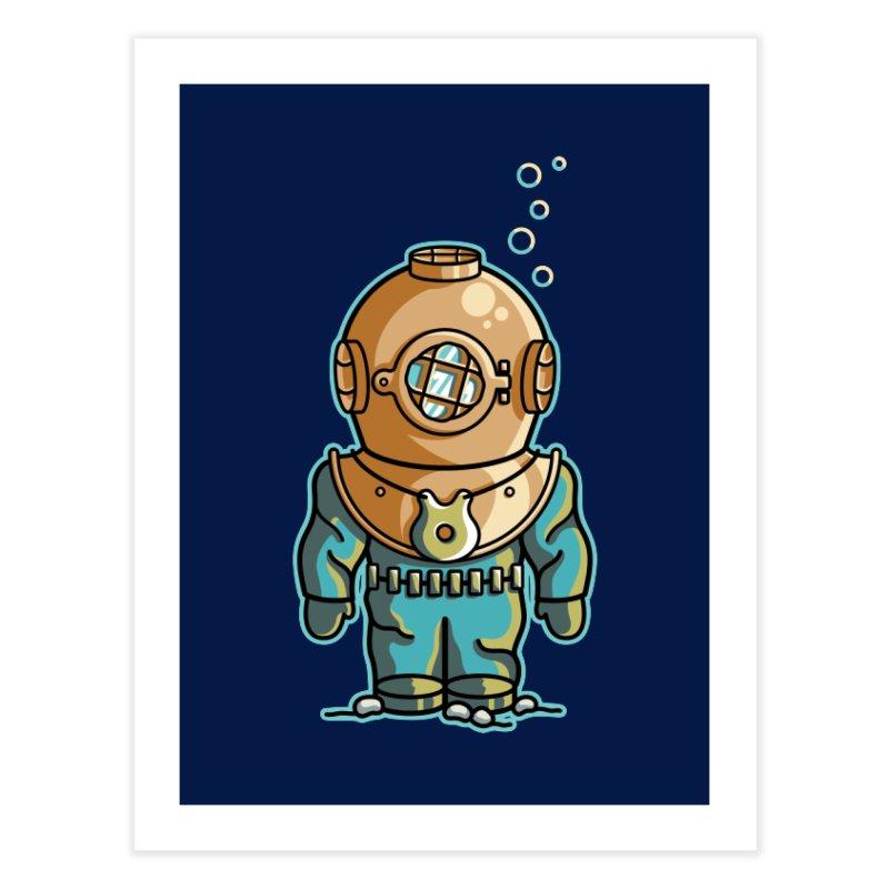 Cute Deep Sea Diver Home Fine Art Print by Flaming Imp's Artist Shop