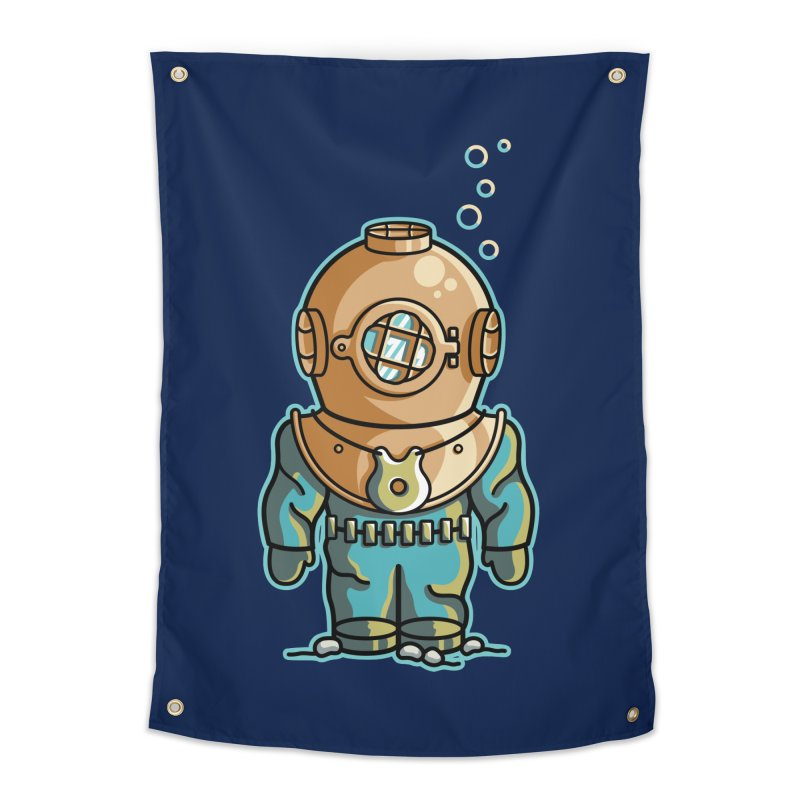 Cute Deep Sea Diver Home Tapestry by Flaming Imp's Artist Shop