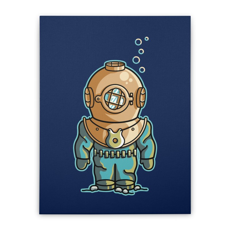 Cute Deep Sea Diver Home Stretched Canvas by Flaming Imp's Artist Shop