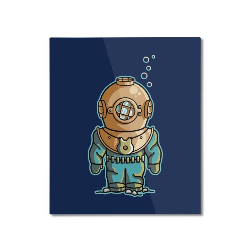 Cute Deep Sea Diver Home Mounted Aluminum Print by Flaming Imp's Artist Shop