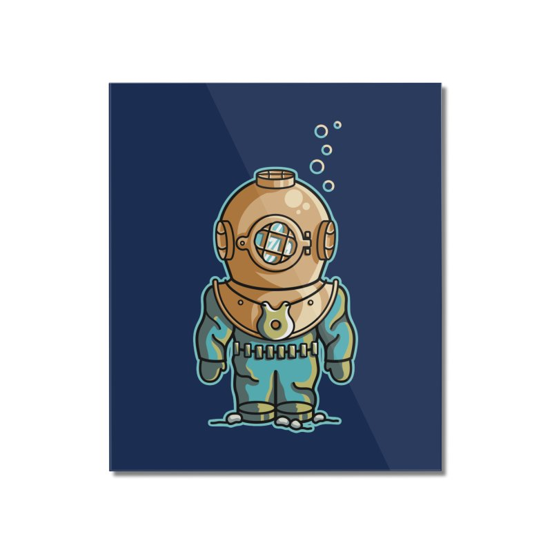 Cute Deep Sea Diver Home Mounted Acrylic Print by Flaming Imp's Artist Shop