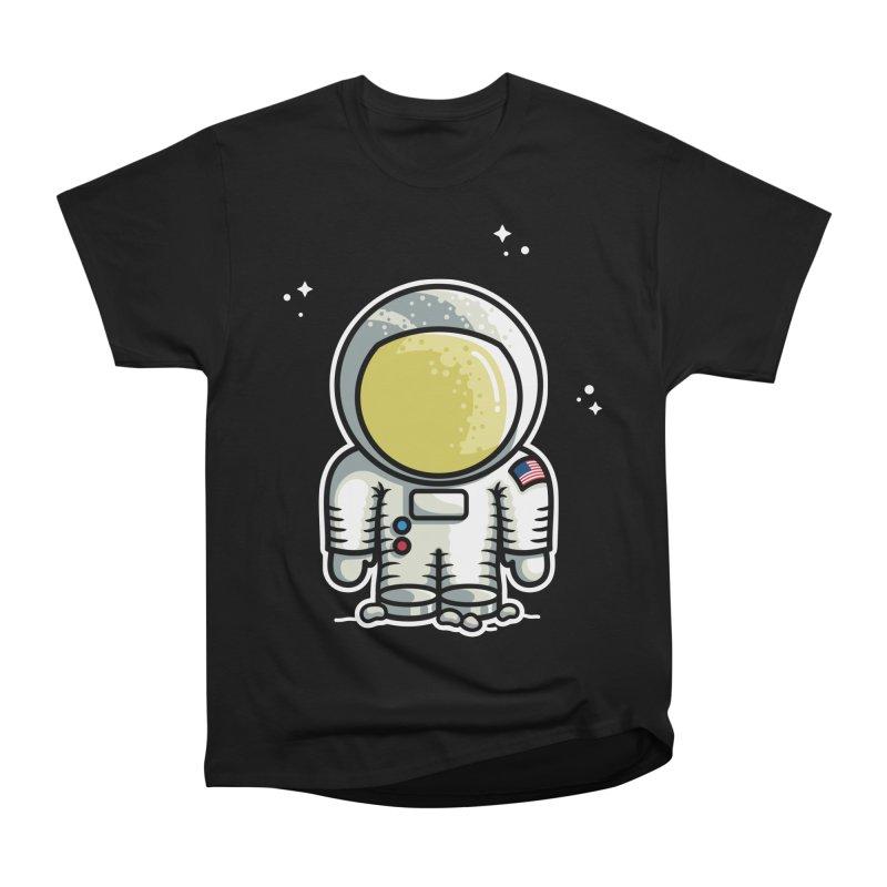 Cute Astronaut Women's Heavyweight Unisex T-Shirt by Flaming Imp's Artist Shop