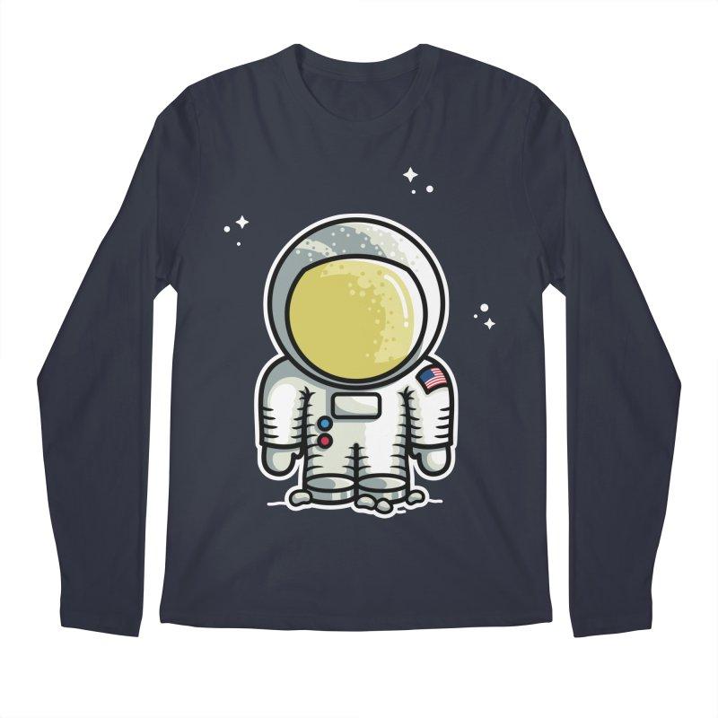 Cute Astronaut Men's Regular Longsleeve T-Shirt by Flaming Imp's Artist Shop