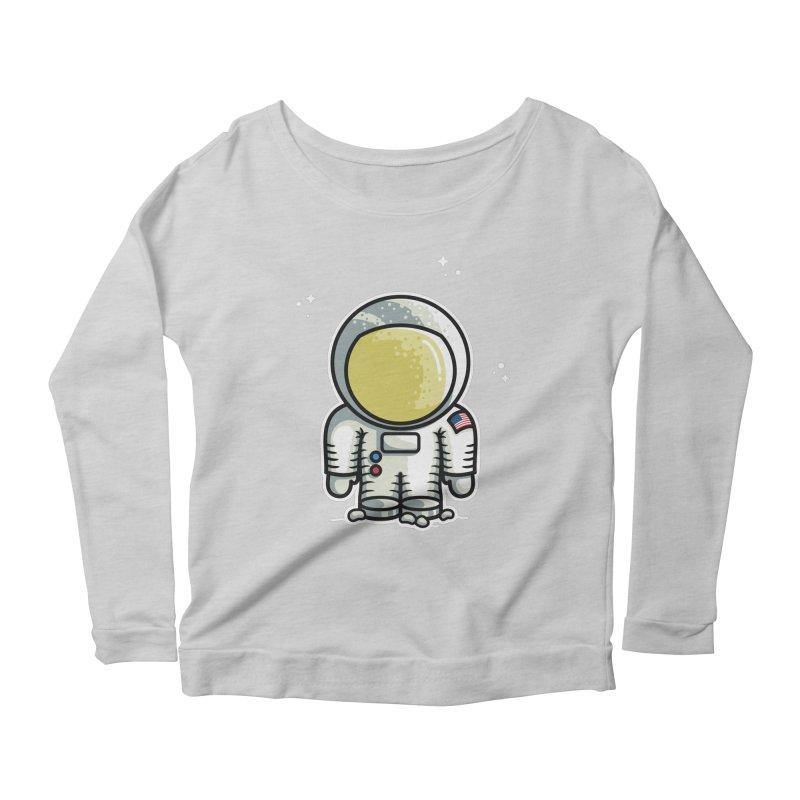 Cute Astronaut Women's Scoop Neck Longsleeve T-Shirt by Flaming Imp's Artist Shop