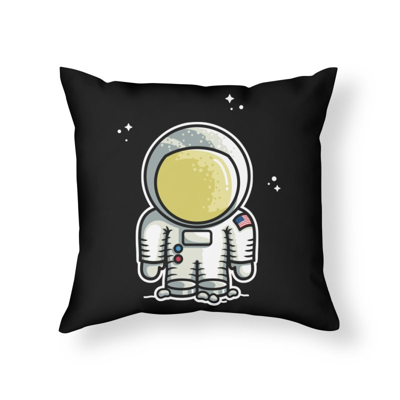 Cute Astronaut Home Throw Pillow by Flaming Imp's Artist Shop